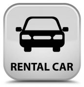 Rental car isolated on special white square button abstract illustration
